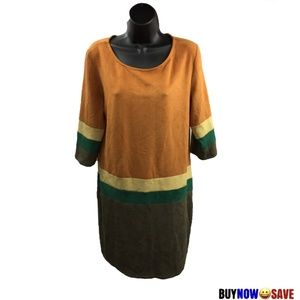 Sweet Miss L Brown Yellow Green Suede Dress